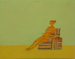 Stephen Chambers: Figure on Boxes, 2011, Oil on wood, 38 x 50 cm